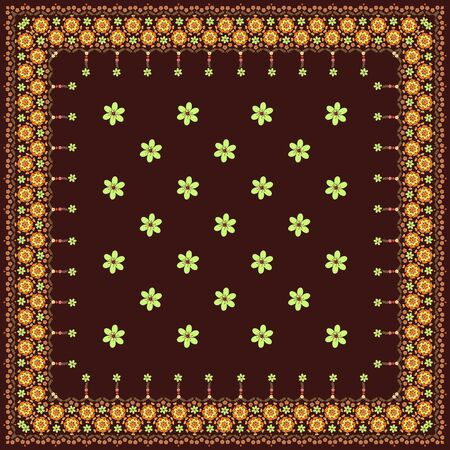 Beautiful bandana print with floral border. Square scarf or shawl with flowers.