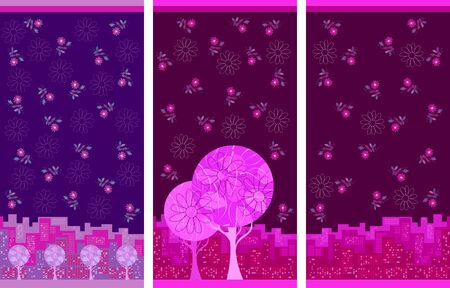 Set of towels with flowers and city panorama. Beautiful design with floral motifs.