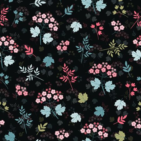Beautiful layered floral seamless pattern. Pink flowers with blue and green leaves. Elegant print for fabric. Vektorové ilustrace