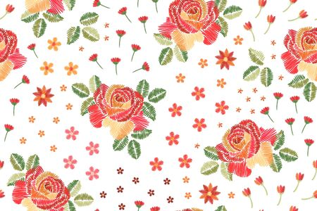 Embroidery seamless pattern with beautiful roses on white background. Иллюстрация