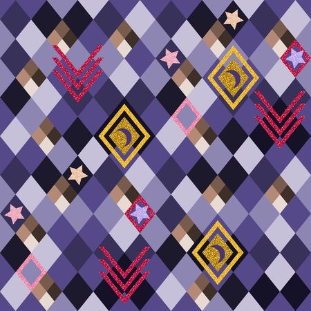 Abstract seamless pattern with glittering elements on rhombus  background.