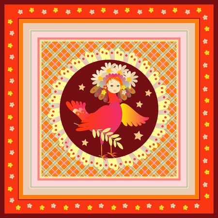 Magic bird Sirin. Beautiful card with russian folkloric motifs.