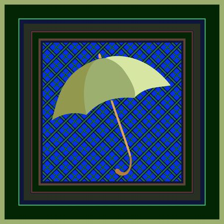 Green umbrella on geometric ornament background. Print for handkerchief, napkin, pillowcase.