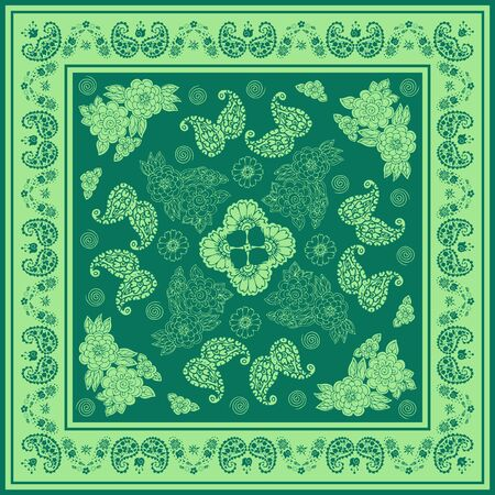 Beautiful bandana print with floral and paisley ornament in green colors. Print for scarf, shawl, kerchief.