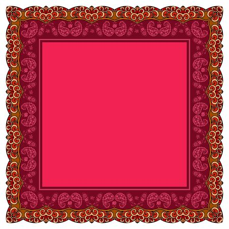 Greeting or invitation card, bandana print or scarf with beautiful ornamental frame. Vector pattern with ethnic motifs.