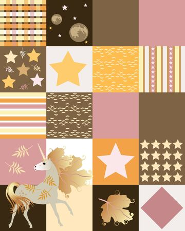 Endless patchwork pattern with unicorn, autumn leaves, stars, stripes and waves. Print for fabric, tapestry, bed linen.