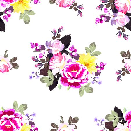 Seamless floral pattern with bunches of garden flowers isolated on white background.