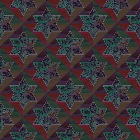 Endless geometric pattern with six-pointed stars in a patchwork style on a background of waves. Lining fabric, shirt, bedspread, packaging design. Illustration