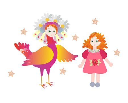 Magic bird Sirin and little girl on white background. Fairytale vector illustration.