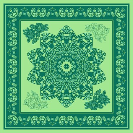 Beautiful bandana print with mandala, flowers and paisley in green colors. Summer kerchief, square scarf.