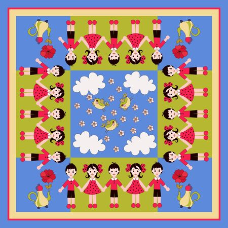 Beautiful square card with cute children - boys and girls, birds, clouds, teapots with flowers. Fairytale vector illustration.