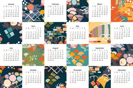Colorful calendar for 2021 year. Original design with bright abstract patterns. 일러스트