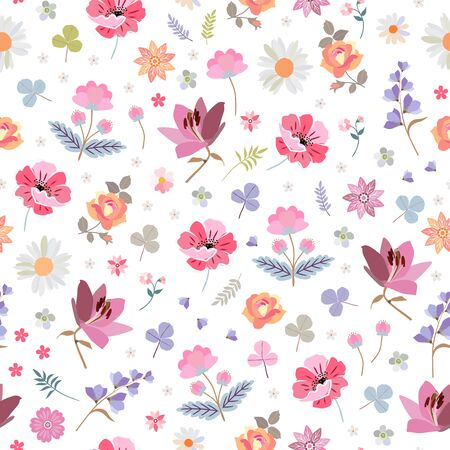 Lovely ditsy floral pattern with different beautiful flowers on white background. Seamless design for fabric, wrapping paper, wallpaper.