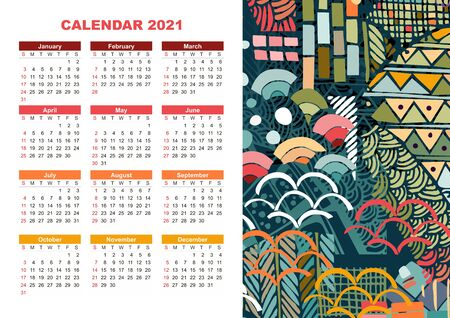 Colorful calendar for 2021 year with trendy abstract pattern. Week starts  on sunday.