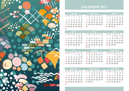 2021 Calendar design with modern abstract ornament. Vector template.