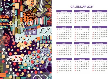 Calendar for 2021 year with colorful abstract ornament. Week starts on sunday. Bright vector design.