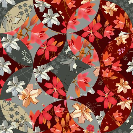 Patchwork seamless pattern with beautiful lily flowers. Bright print for fabric.