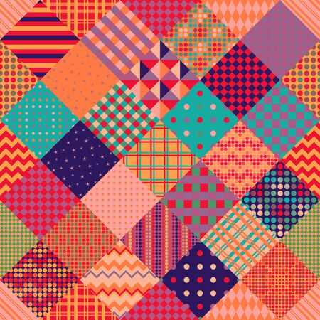 Multicolor patchwork pattern. Seamless vector design. Bright print for fabric. Vetores