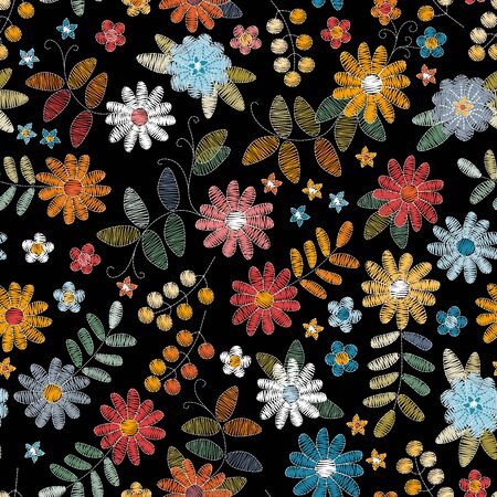 Embroidery design. Seamless pattern with colorful flowers, leaves and berries on black background.