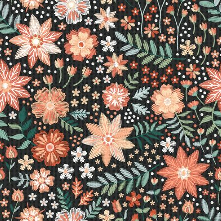Beautiful seamless pattern with embroidered flowers and leaves. Print for fabric. Fashion design.