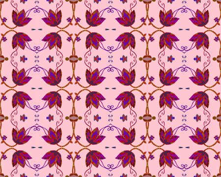 Seamless pattern with bell flowers on pink background. Beautiful print for fabric, textile, wrapping paper. Vettoriali