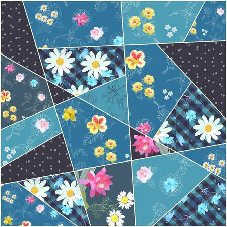 Patchwork pattern with floral patches. Beautiful design for square cushion. Vektorové ilustrace