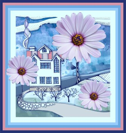 Beautiful collage with flowers on the picture of country house. Card, poster, cover.