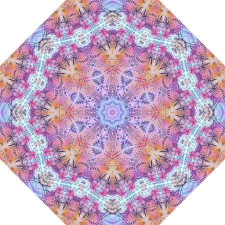 Beautiful floral pattern on watercolor background. Design for umbrella, carpet, rug. 免版税图像