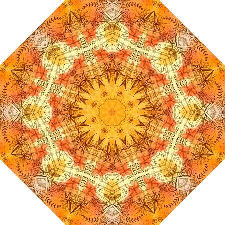 Beautiful mandala pattern with floral and geometric ornament in orange colors. 免版税图像