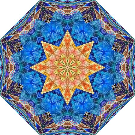 Mandala pattern in ethnic style with bright star in the center. Ceramic tile. Print for umbrella, carpet, rug.