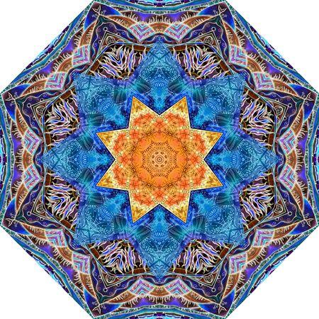 Mandala pattern with ethnic motifs. Orange octagonal star in the center. Print for umbrella, carpet, rug, tile.