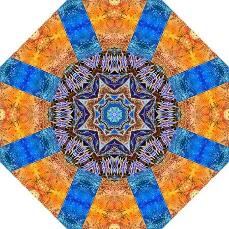 Colorful octagon mandala pattern with decorative ornament. Beautiful print for umbrella 免版税图像