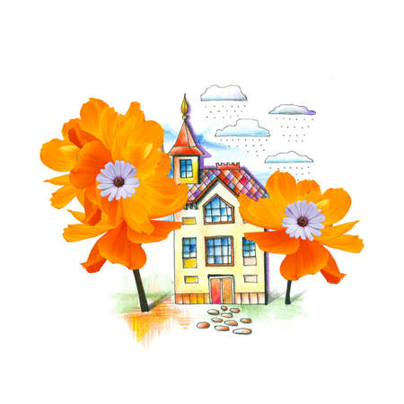 Summer landscape with house and fantasy trees-flowers. Fairy tale. Cute collage with drawing and photo.