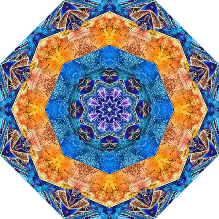 Beautiful mandala pattern with ethnic motifs. Octagon tile. Print for carpet, rug, umbrella.