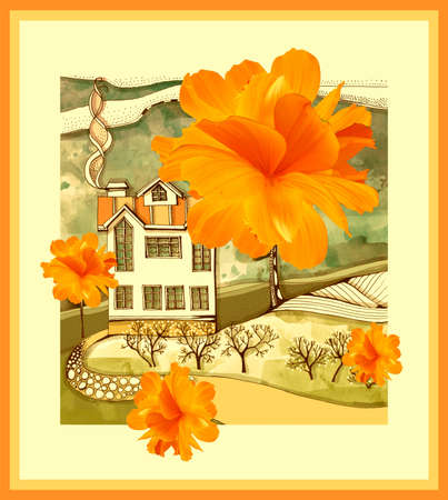 Beautiful card with drawing of house in warm tones and bright orange cosmos flowers.