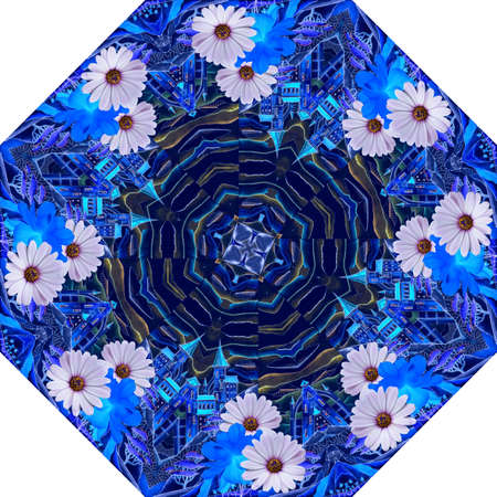 Beautiful pattern with daisy flowers and fantasy castles on blue background. Print for umbrella, carpet, rug.
