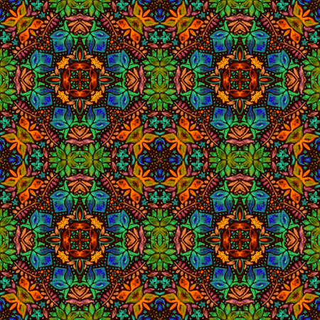 Bright seamless pattern with colorful floral ornament. Print for fabric and textile.