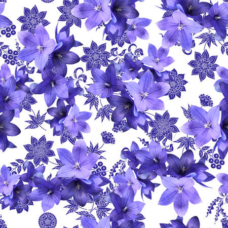 Beautiful seamless pattern with violet bellflowers on a background of elegant floral ornament on white backdrop. Print for fabric, wallpaper.