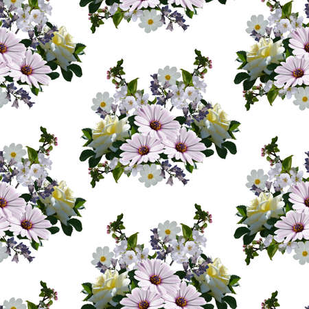 Floral seamless pattern with bouquets of flowers on white background. Print for fabric, wallpaper.