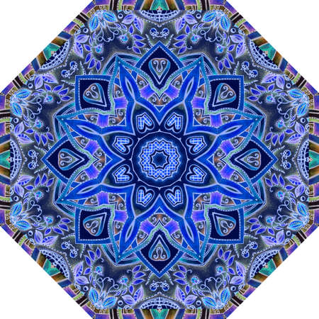 Octagonal pattern for an umbrella with a beautiful flower mandala, a pattern of small leaves and berries and a striped frame. Carpet, card, ceramic tiles.
