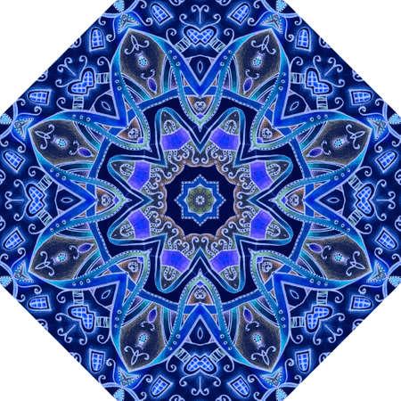 Octagonal pattern for a female umbrella with a flower mandala in blue, cobalt, lilac colors. Packaging design, unusual invitation card, floor carpet, ceramic tiles.