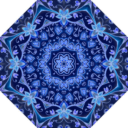 Octagonal umbrella pattern with a beautiful stylized snowflake in blue, sapphire and cobalt colors. Packaging design, floor carpet, ceramic tiles. 版權商用圖片