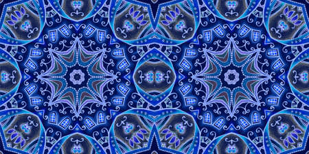 Beautiful seamless pattern with abstract intricate ornament in blue tones. Print for fabric, textile, wallpaper. 版權商用圖片