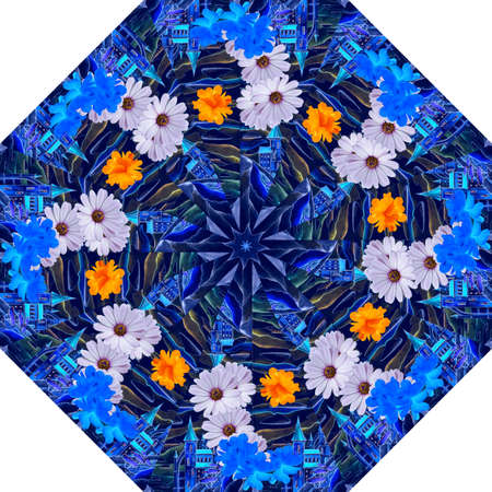 Octagonal pattern for a fashionable female umbrella with fabulous towers against the evening sky and beautiful garden flowers.