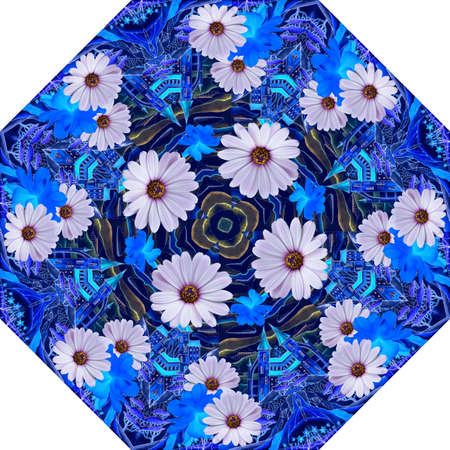 Octagonal pattern with beautiful daisies and cosmos flowers on the background of fantasy landscape. Print for umbrella. 版權商用圖片