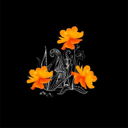 Fairy house with orange cosmos flowers. Beautiful illustration on black background.