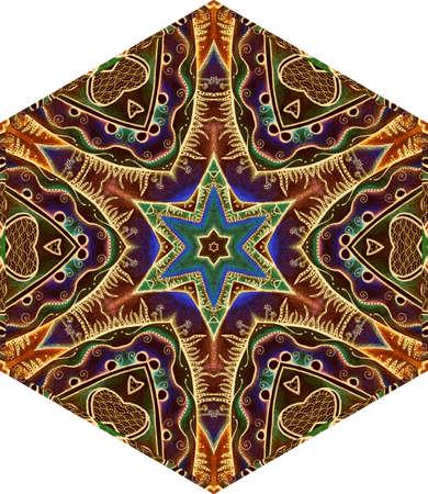 Ceramic tile with ornamental pattern. Hexagonal design with ethnic motifs. 版權商用圖片