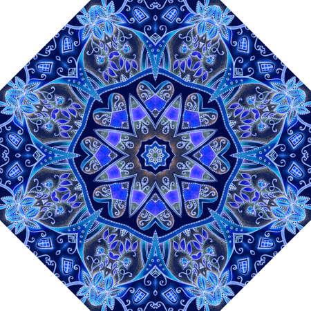 Octagonal pattern for female umbrella with mandala, hearts, elegant floral pattern in sapphire, blue, cobalt and purple colors. Elegant accessory, floor carpet, ceramic tiles, packaging design.