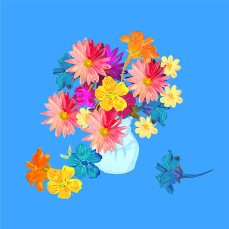 Vibrant bouquet of colorful summer flowers in vase on bright blue background. Watercolor painting.