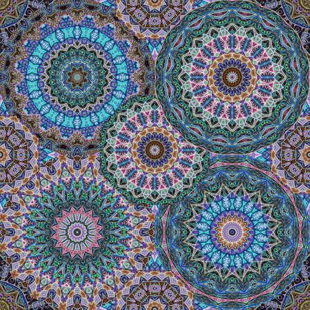 Seamless pattern with beautiful mandalas in emerald, sapphire, crimson and brown colors. Print for fabric, bedding, curtain.